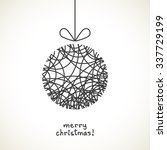 vector christmas doodle ball.... | Shutterstock .eps vector #337729199