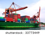 Container Ship Under Loading O...