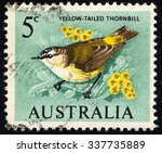 Small photo of AUSTRALIA - CIRCA 1964: A stamp printed in Australia shows Yellow-Tailed Thornbill (Acanthiza chrysorrhoa), Bird series, circa 1964