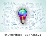 idea concept with light bulb... | Shutterstock . vector #337736621