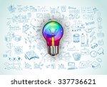 idea concept with light bulb...   Shutterstock . vector #337736621
