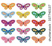 colourful butterfly set  ... | Shutterstock .eps vector #337740137