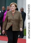 Small photo of NOVEMBER 10, 2015 - BERLIN: German Chancellor Angela Merkel, before a meeting with the South Afrcian President in the Federal Chanclery in Berlin.