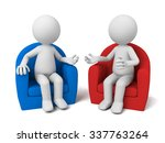 the two 3d people sit together...   Shutterstock . vector #337763264