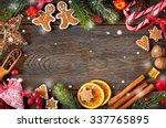 christmas frame. gingerbread... | Shutterstock . vector #337765895