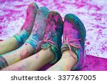 the colorful shoes and legs of... | Shutterstock . vector #337767005