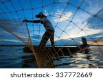 Fisherman Of Lake In Action...