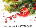 christmas balls and fir... | Shutterstock . vector #337780631