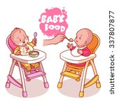 two kids in baby highchair with ...   Shutterstock .eps vector #337807877