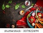 fresh organic vegetables and... | Shutterstock . vector #337822694