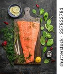 Perfect Salmon Fillet On Rusti...
