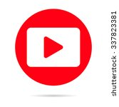 Red Player icon isolated on background. Modern flat pictogram, business, marketing, internet concept. Trendy Simple youtube vector symbol for web site design or button to mobile app Logo illustration