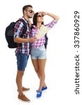 a pair of happy tourists...   Shutterstock . vector #337860929