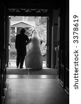 bride and groom leaving the... | Shutterstock . vector #3378619
