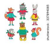 winter animals set. hand drawn... | Shutterstock .eps vector #337894085