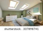 bedroom in green on the attic ... | Shutterstock . vector #337898741