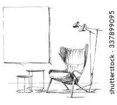 Contemporary modern interior hand drawing vector illustration. | Shutterstock vector #337899095