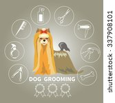 dog grooming icons vector set.... | Shutterstock .eps vector #337908101