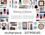makeup cosmetics and brushes on ... | Shutterstock . vector #337908185