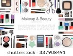 makeup cosmetics and brushes on ... | Shutterstock . vector #337908491