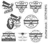 Set Of Vintage Biplane Emblems...