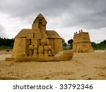 GDANSK, POLAND - July 14: 3000 tons of sand; 31 sculptors from around the world; 16 monumental sculptures made of sand, July 14, 2009 in Gdansk, Poland. INTERNATIONAL PLENER SCULPTURES MADE OF SAND, - stock photo
