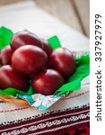 easter red onion dyed eggs on a ...