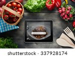 Food Recipes Tablet Computer On ...