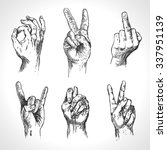 set of hand gestures. retro... | Shutterstock .eps vector #337951139