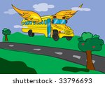 flying school bus through the... | Shutterstock .eps vector #33796693