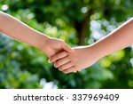 close up two boy hands hold... | Shutterstock . vector #337969409