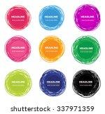 set of abstract doodle emblem... | Shutterstock . vector #337971359