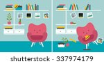 tidy and untidy room. living... | Shutterstock .eps vector #337974179