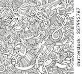 cartoon hand drawn doodles on... | Shutterstock .eps vector #337992767