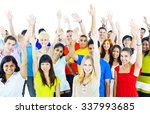diverse group people arms... | Shutterstock . vector #337993685