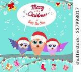 christmas owl chat... | Shutterstock .eps vector #337998017