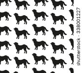 seamless pattern with dog... | Shutterstock .eps vector #338001227