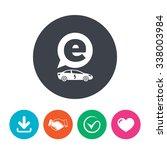 electric car sign icon. sedan... | Shutterstock .eps vector #338003984