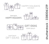 set of vector banners with thin ... | Shutterstock .eps vector #338006159