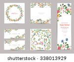 collection of greeting cards... | Shutterstock .eps vector #338013929