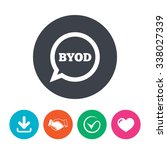 byod sign icon. bring your own...   Shutterstock .eps vector #338027339