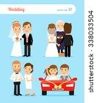 wedding people. bride and groom ... | Shutterstock .eps vector #338033504