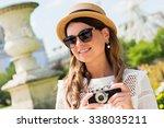 beautiful joyful young woman... | Shutterstock . vector #338035211