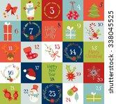christmas advent calendar with... | Shutterstock .eps vector #338045525
