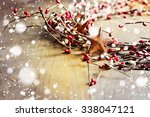 Christmas Wreath With Red And...