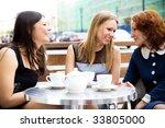 three beautiful women drinking... | Shutterstock . vector #33805000