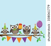 vector birthday party card with ... | Shutterstock .eps vector #338061779