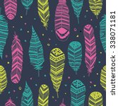 ethnic feathers  seamless... | Shutterstock .eps vector #338071181