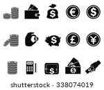 money and coin icons set | Shutterstock .eps vector #338074019