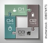 four piece flat puzzle round...   Shutterstock .eps vector #338076971
